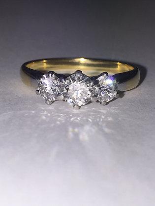 Vintage Three-Stone Diamond Ring