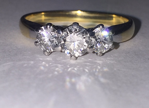 Vintage Three-Stone Diamond Ring