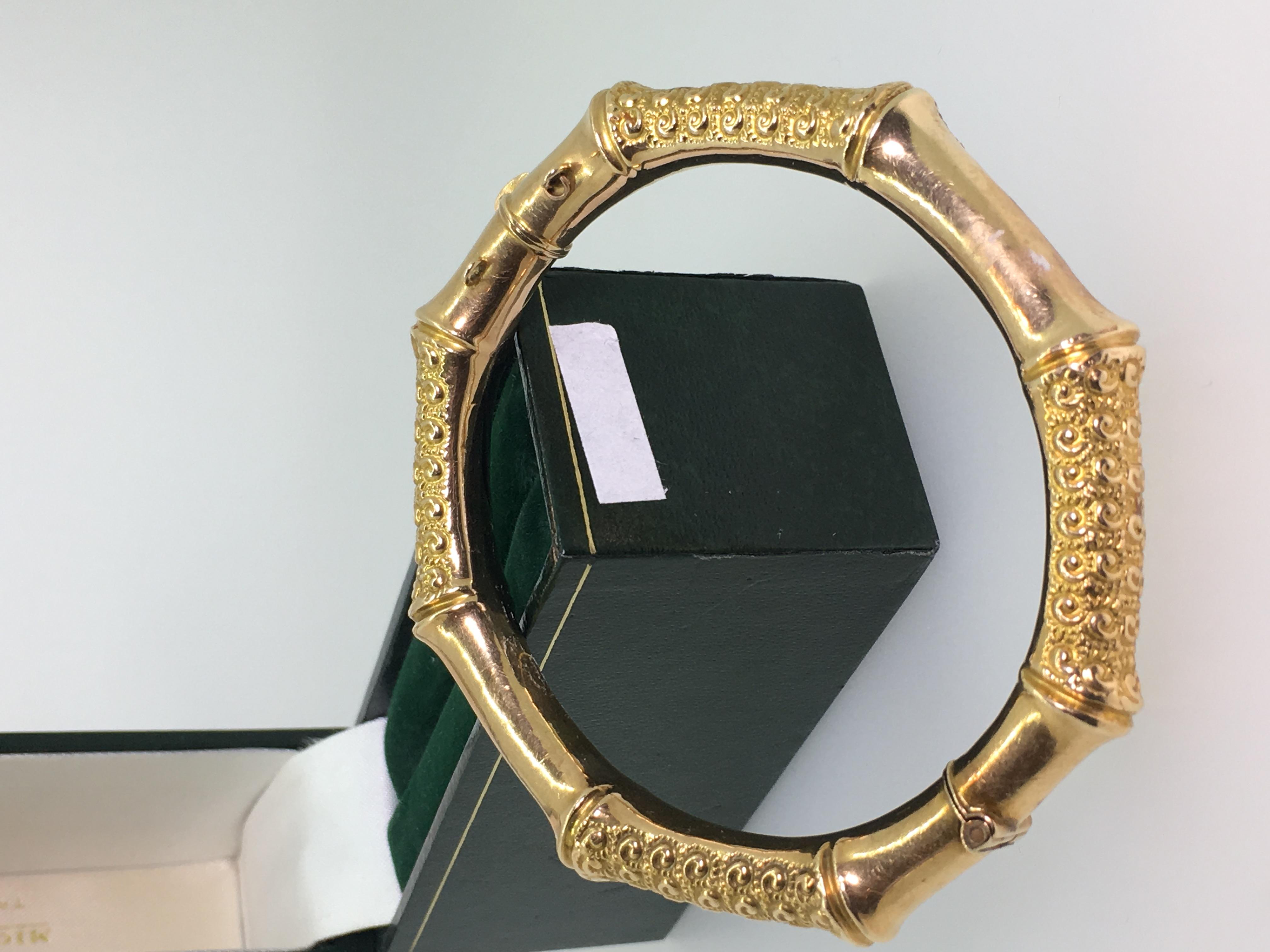 ANTIQUE 15K GOLD BAMBOO BANGLE