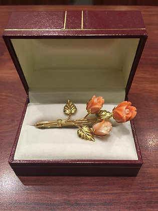 18K Yellow Gold & Angel's Skin Coral Brooch