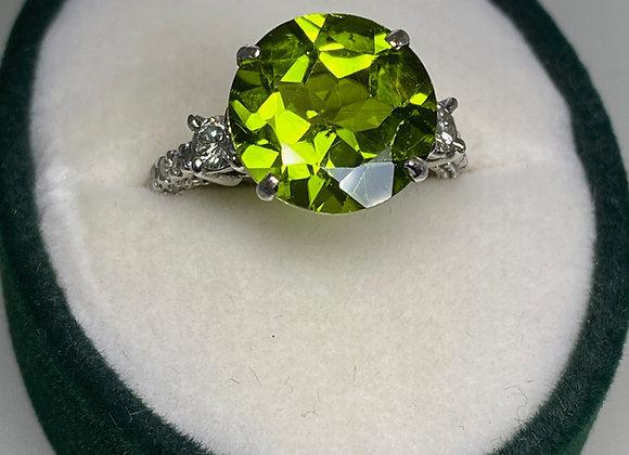 5.50ct Olive Green Peridot & Diamond Ring in 18K White Gold