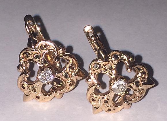 14K Rose Gold Russian Vintage Earrings