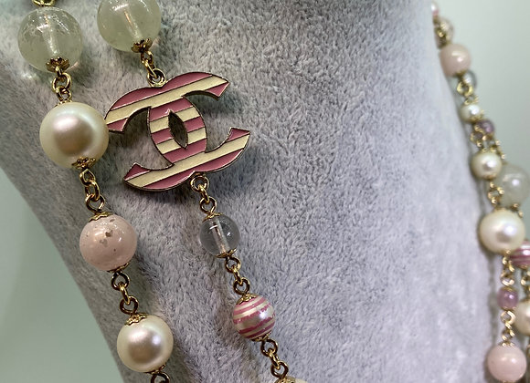 CHANEL Pearl & Pink, White Enamel Striped CC Opera Length Necklace, Pink Gold