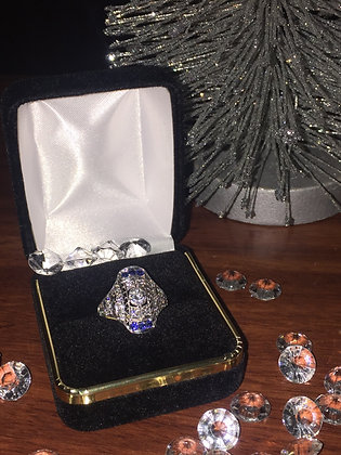Art-Deco Platinum, Diamond & Sapphire Ring