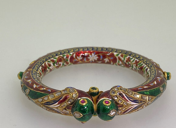 22K Gold, Ruby, Emerald, Diamond Enamel Mughal Peacock Bangle