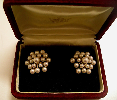 Gold & Pearl Ear Clips by MIKIMOTO