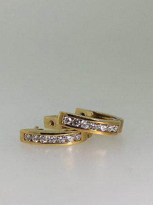 18K Yellow Gold & 1.00ct Diamond Half Hoop Earrings