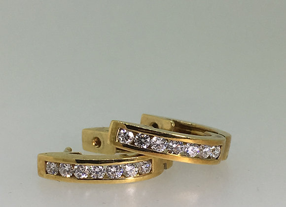 18K Yellow Gold & 1.00ct Diamond Half Hoop Earrings