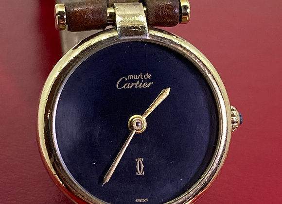 Must De Cartier Silver Gilt & Black Onyx Quartz Wristwatch