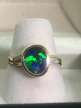 Boulder Opal & Diamond Vintage Ring in 14K Yellow Gold
