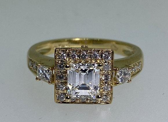 Emerald Cut Diamond Engagement Ring in 18K Yellow Gold