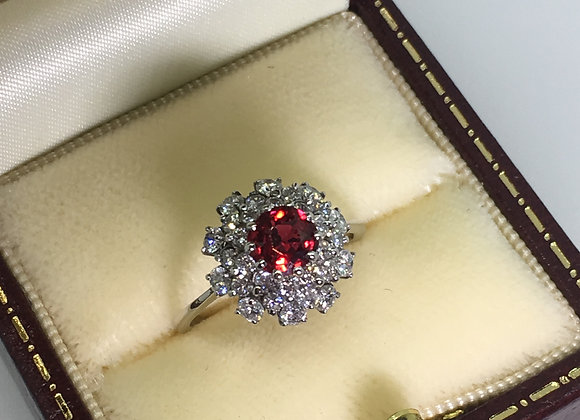 Ruby Red Spinel & Diamond Cluster Ring in 18K White Gold