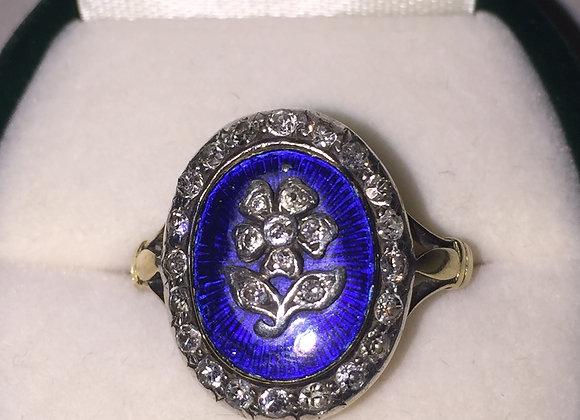 Blue Enamel & Diamond Victorian Ring