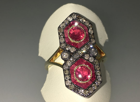 Ruby & Rose Cut Diamond Figure 8 Shaped Ring in Silver Gilt