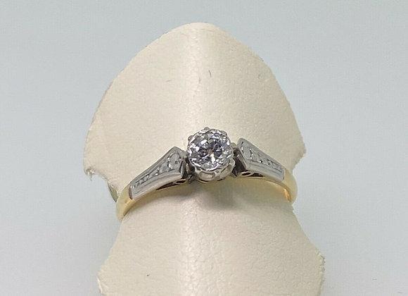 0.25ct Old-European Cut Solitaire Diamond Ring in 18K Gold & Platinum
