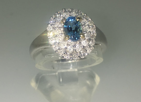 Cluster Ring set with 0.60ct Oval Blue Tourmaline