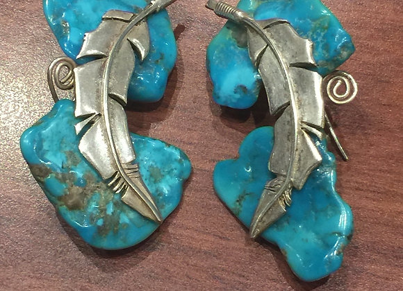 Sterling Silver & Turquoise Feather Earrings