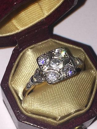 Art-Deco Gold, Platinum & Diamond Ring