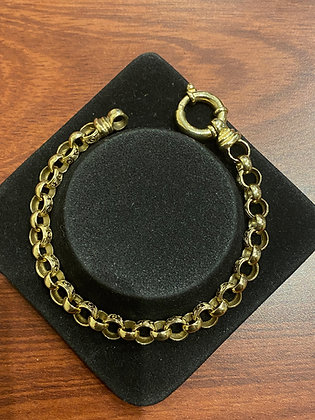 9K White & Yellow Gold Round Belcher Link Engraved Bracelet