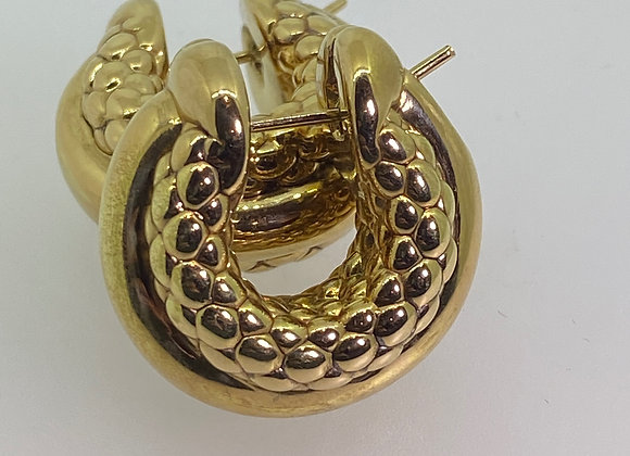 FOPE Serpenti / Snake 18K Gold Italian Hoop / Huggies Earrings. Luci Collection.