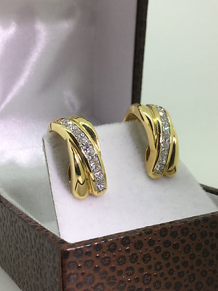 18K Yellow Gold & 1.80ct Diamond Cluster Earrings