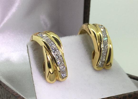 18K Yellow Gold & 1.80ct Diamond Cluster Earrings