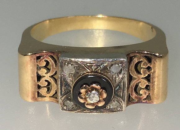 An Antique 18K Rose and White Gold, Diamond, Enamel French Ring