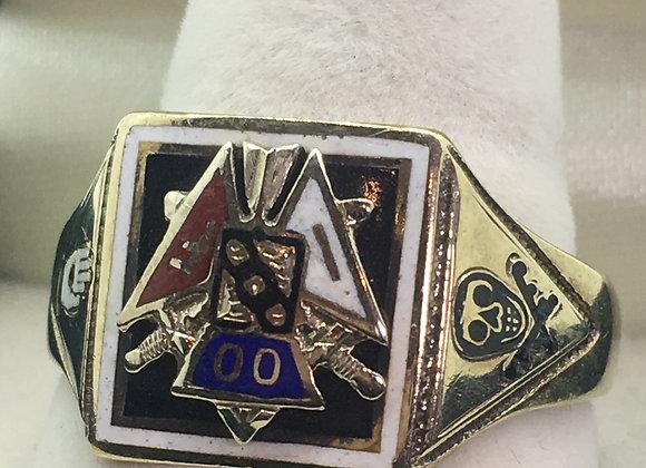 18K Gold & Enamel Vintage Signet Ring