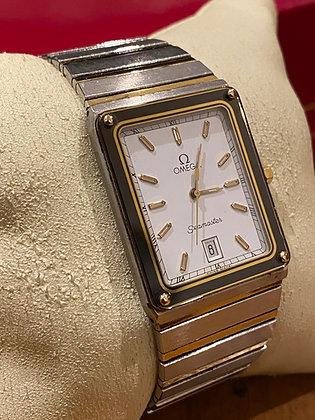 Rectangular Omega Seamaster Two-Tone Gold & Steel Watch, ref 1430