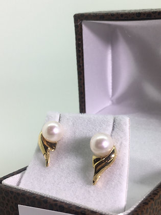 18K Yellow Gold & 7mm Pearl Stud Earrings