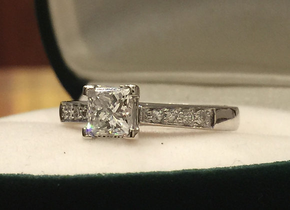 0.72 Princess Cut Diamond Ring in 18K White Gold