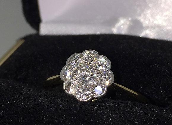 An Art-Deco Gold, Platinum & Diamond Daisy Style Ring