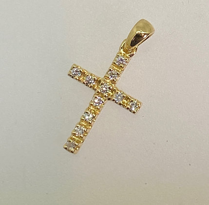 An Elegant 18K Yellow Gold 0.35ct Diamond Cross Pendant
