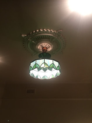An Art-Deco French Ceiling Lamp. Stained Glass & Brass.