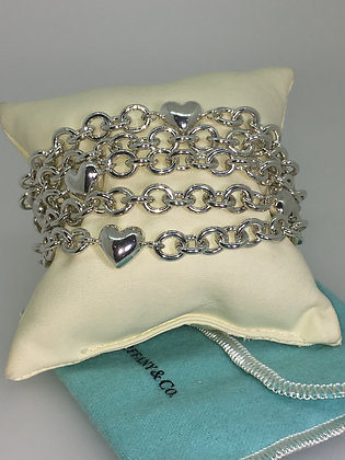 Tiffany & Co 925 Silver 5 Strand Chain Link Multi-Heart Toggle Bracelet