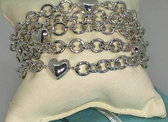 Tiffany & Co 925 Silver 5 Strand Chain Link Multi-Heart Toggle Bracelet