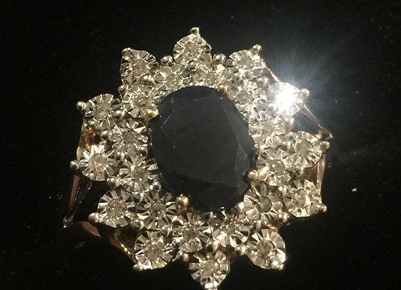 Australian Sapphire & Diamond Flower Shaped Cluster Ring