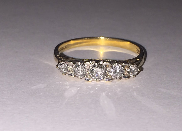 Art-Deco Style 5 Stone Diamond Ring