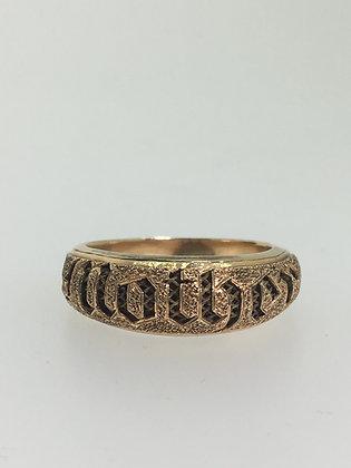 "Antique 9K Gold Tudor Style Dedication ""Mother"" Ring"