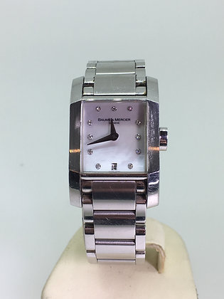 "Baume & Mercier ""Hampton"" Quartz MOP & Diamond Dial Watch"