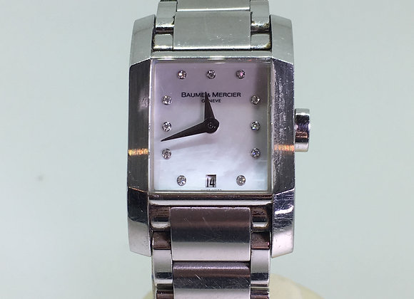 "Baume & Mercier ""Hampton"" Quartz MOP & Diamond Dial Watch"