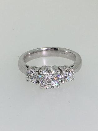 3-Stone Diamond Ring in 18K White Gold.