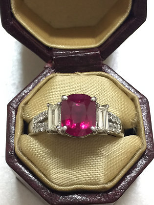 Burmese Ruby and Diamond ring in Platinum