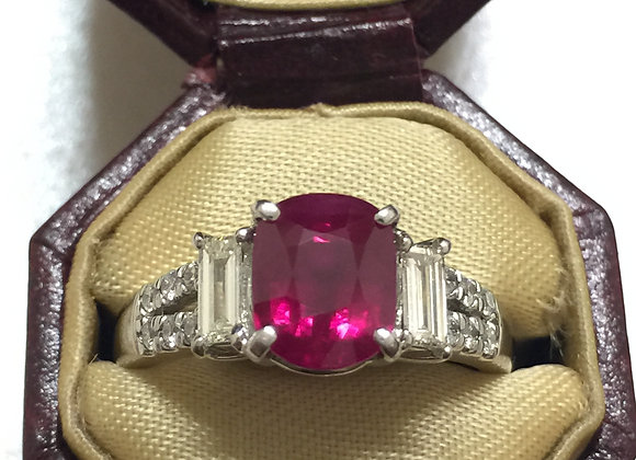 Burmese Ruby and Diamond ring in Platinum