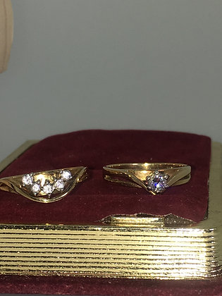 Vintage Zamel's Set: 18K Gold & Diamond Engagement Ring & Diamond Band