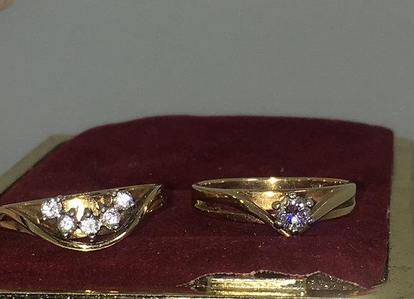 Vintage Zamel's Set: 18K Gold & Diamond Engagement Ring & Diamond Band