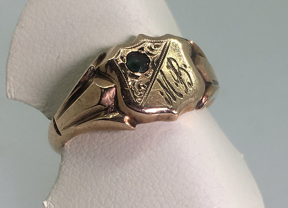 An Antique 9K Rose Gold & Sapphire Shield Shaped Signet Ring