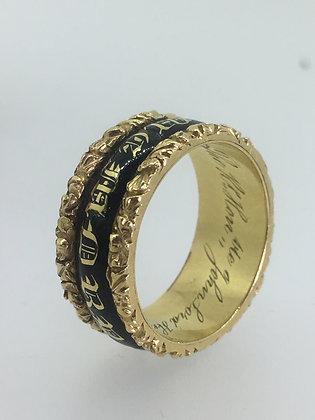 18K Gold/Enamel Mourning Ring in Memory of John Lord Henniker