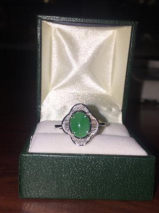 Jade & 0.45ct Diamond Ballerina Style Ring