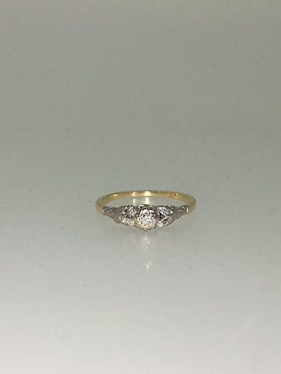 An Art-Deco 18K Gold, Platinum & Diamond Engagement Ring